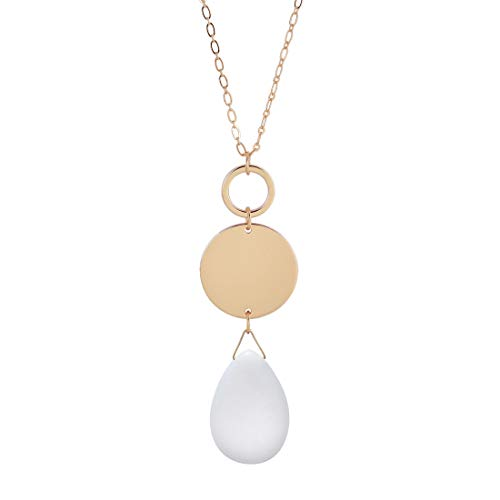 (CONCISE ROYAL White Stone Pendant Long Necklace for Women )