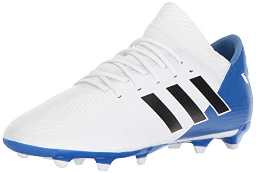 adidas Unisex Nemeziz Messi 18.3 Firm Ground Soccer Shoe, White/Black/Football Blue, 3.5 M US Big Kid