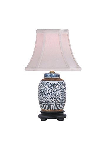 Jar Porcelain Lamp Ginger (Chinese Blue and White Porcelain Ginger Jar Twisted Lotus Table Lamp 15