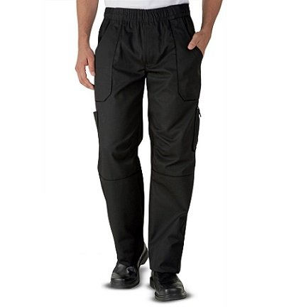 Uncommon Threads 4102-0104 Grunge Cargo Chef Pant in Black - Large