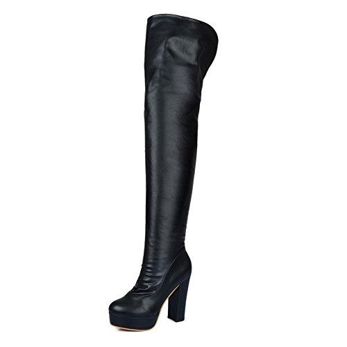 BalaMasa Womens High Heels Thigh High Black Solid PU Thigh Boots - 7 B(M) ()