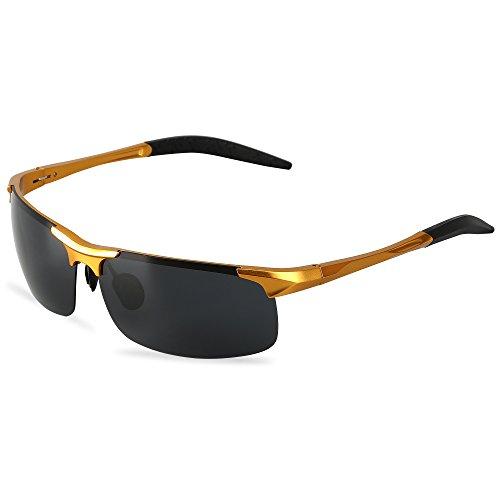 Men's Sports Style Polarized Sunglasses For Driving Fishing Cycling Ultralight Glasses LeadallwayTM (Golden frame darkgrey - Wearing Sunglasses Bear