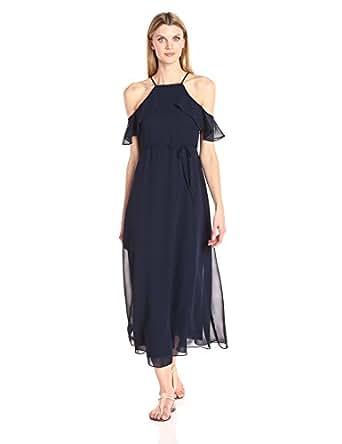 Julian Taylor Womens 55289M Ruffled Top Sleeveless Maxi Dress Short-Sleeve Dress - Blue - 12