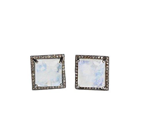 Large Rainbow Moonstone Pave Diamond Square Cushion Cut Stud Earring-12mm (Diamond Earrings Moonstone)