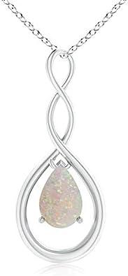 Octubre piedra natal – Collar con colgante de ópalo natural con forma de pera infinito para mujer
