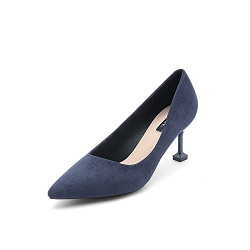 heels Blue Autumn Wild Heels Spring New And High 8cm Jqdyl Work High Female Winter Shoes HUZSZ