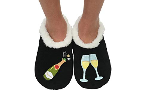 Black Splitz Applique Womens Slipper Socks Snoozies Classic Prosecco w084q4Ov