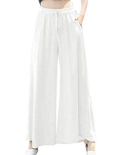 Jambes Femmes À Larges Huateng Pantalons Blanc HCqtx6CnYw