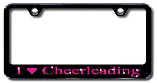 Aluminum I Love Cheerleading Design License Plate Frame with Swarovski Crystal Bling Diamond (Black License Plate, Hot Pink Crystals) -  Simply Infinite Productions