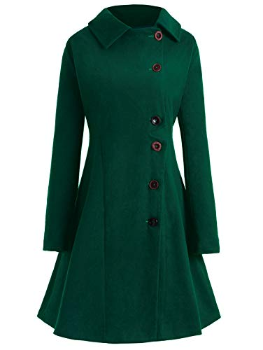 (KCatsy Plus Size Buttoned Long Coat)