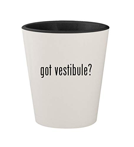 got vestibule? - Ceramic White Outer & Black Inner 1.5oz Shot Glass