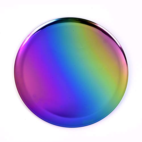 QBOSO Rainbow Round Trays 11 In Stainless Steel Serving Plate Vanity Trays Candle Trays Bathroom Dresser Kitchen Cosmetics Jewelry Desk Decor Organizer