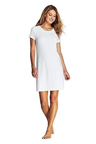 (Lands' End Women's Jacquard Terry T-Shirt Dress Swim Cover-up, L, White)
