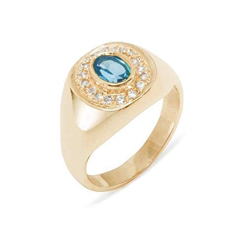 (LetsBuyGold 10k Rose Gold Natural Blue Topaz & Diamond Mens Signet Ring - Size 10 - Sizes 6 to 12 Available (0.14 cttw, H-I Color, I2-I3 Clarity))