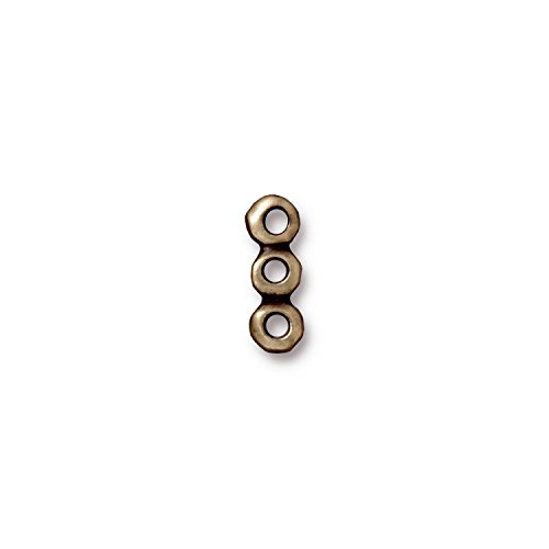 - TierraCast Link 3 Hole Nugget Bar, 5x14mm, Antique Brass Oxide Finish Pewter, 4-Pack