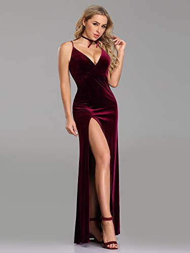 1485f47e481bb Ever-Pretty Women's Velvet Spaghetti Strap V Neck Evening Dress with ...