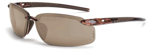 12 Pack Crossfire 29117 ES5 Safety Glasses HD Brown Mirror Lens - Crystal Brown Frame - Frame Brown Mirror Lenses