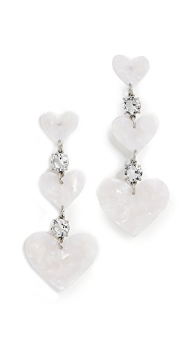 For Love & Lemons Women's Heart Drop Earrings, White Pearl, One Size by For Love & Lemons