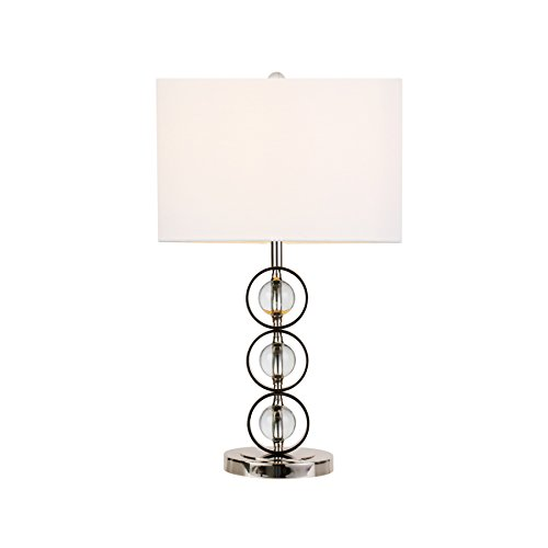Cheap  MAYKKE Beckett Table Lamp, White Fabric Shade with Crystal Orb Base |..