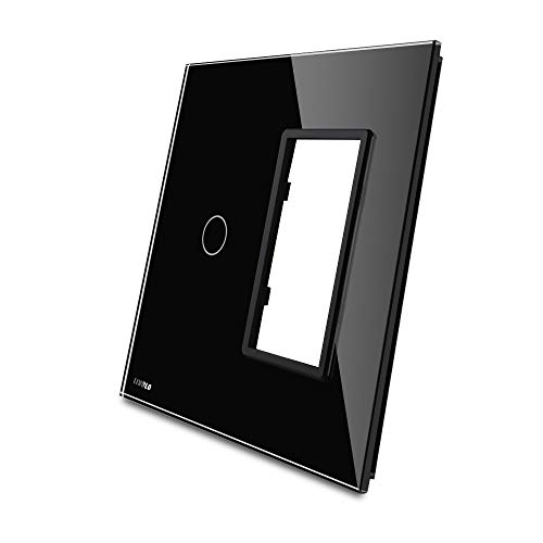 LIVOLO Combination Wallplate Black US Standard 1Gang &1 Frame Luxury Tempered Glass Panel For Wall Touch Switch And Socket, Switch Accessory, C5-C1/SR-12