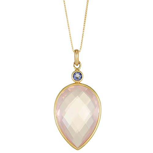 Lavari - 20x14 Pear Shaped Rose Quartz 3MM Iolite 14K Yellow Gold Pendant ()