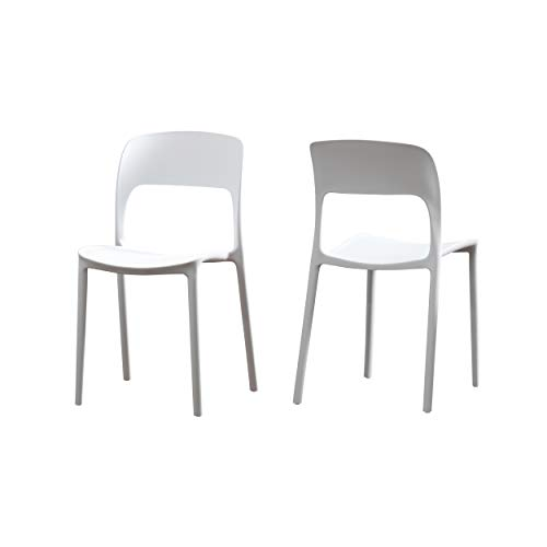 Great Deal Furniture 306515 Dean Outdoor Plastic Chairs (Set of 2), White