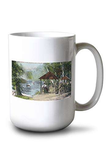 Lantern Press Portland, Maine - Riverton Park View of The Presumpscot River (15oz White Ceramic Mug)
