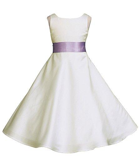 Wedding Pageant Ivory A-Line Matte Satin Jr. Bridesmaid Flower Girl Dress (18, Ivory/Lilac)
