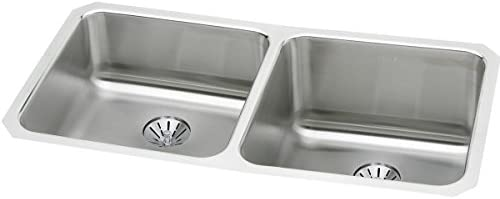 Elkay Lustertone ELUH311810LPD Equal Double Bowl Undermount Stainless Steel Sink with Perfect Drain