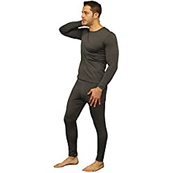 Men's Ultra Soft Thermal Underwear Long Johns Set with Fleece Lined (X-Large, Grey)