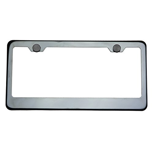 Polish Black Chrome T304 Stainless Steel License Plate Frame Holder Front Or Rear Bracket with Aluminum Screw Cap