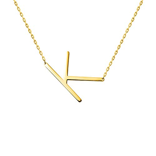 WIGERLON Stainless Steel Initial Letters Necklace for Women and Girls Color Gold and Silver from A-Z Letter K Color Gold from WIGERLON