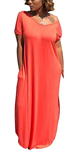 Womens Summer Casual ins Fashion Oversized Solid Color Strapless Short Sleeve V-Neck Backless OL Loose Draped Pockets Split Party Club Boho Maxi Sheer Long Dress Red S ()