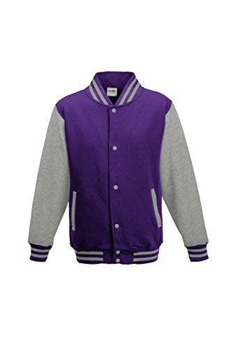 Awdis Kid's Varsity Jacket Purple / Heather Grey 9-11 Yrs -