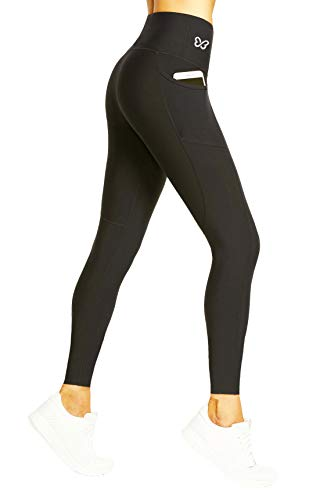 BTERFLY USA Anti Cellulite Compression Leggings for Women with Pockets (S 4-8 USA, Black Full)
