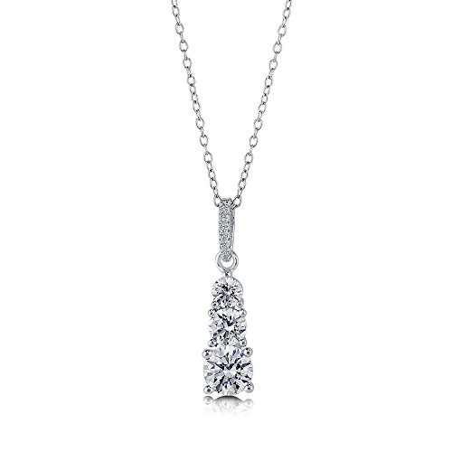 BERRICLE Rhodium Plated Sterling Silver 3-Stone Graduated Pendant Made with Swarovski Zirconia 18
