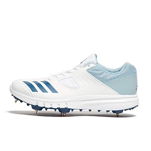 adidas Howzat Mens Adult Cricket Trainer Spikes Shoe White/Blue - UK 10