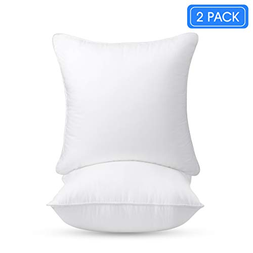 HOMEIDEAS Throw Pillow Inserts - 100% White Cotton Hypoallergenic Cover & Supporting Plush Microfiber Filling - Decorative Sofa Cushion Insert - 18x18 Inch (2 Pack)