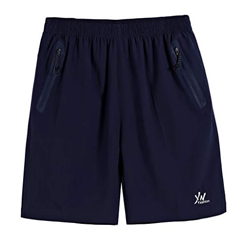 (Men's Summer Plus Size Thin Casual Sports Short Pants Fast-Drying Beach Trousers Blue)