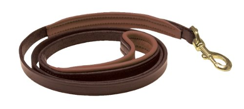 Perri's Leather 1/2-Inch Havana with Brown Skinny Padded Leather Dog Leash, 5-Feet