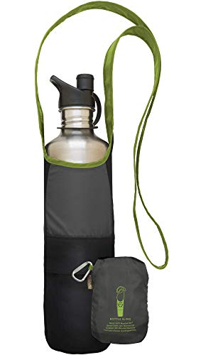 ChicoBag Bottle Sling rePETe Recycled Water Bottle Carrier Bag with Pouch - Limestone