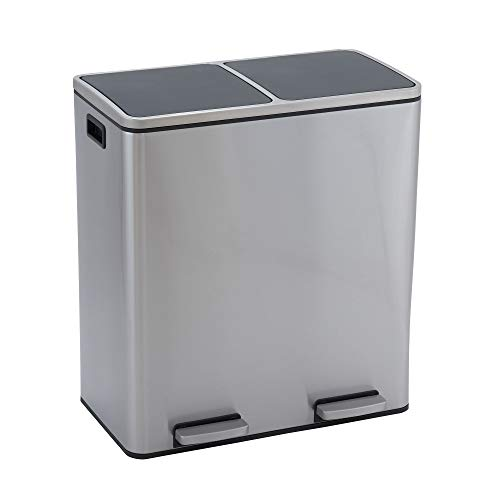 Design Trend Stainless Steel Dual Compartment Trash Can Recycler with Soft Close Lids | Two 30 Liter / 8 Gallon Bins, 60 Liter, Silver