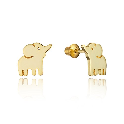 - 14k Gold Plated Brass Baby Elephant Screwback Baby Girls Earrings with Sterling Silver Post