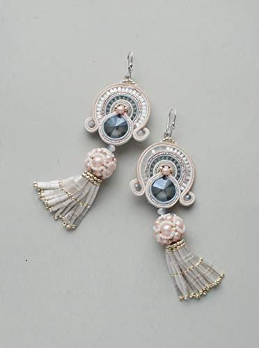 Soutache dangle long earrings with tassels, Pink, white and gray earrings, Embroidered beaded jewelry, Swarovski bridal jewelry