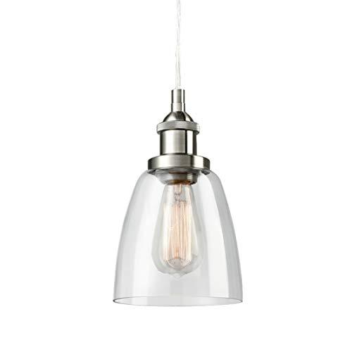 CLAXY Ecopower Industrial Mini Glass Pendant Brushed Nickel Hanging Light Fixture