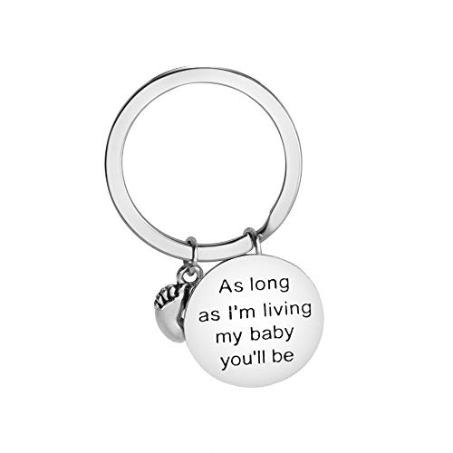 Bronze Pendant Mini Pearl - Yeefant Fashion Quote Letter Silver Metal Keychain Gift for Dad Pendant Keyring Decor, 2.75x1.97x2.36 inch, As Long as I'm Living My Baby You'll be