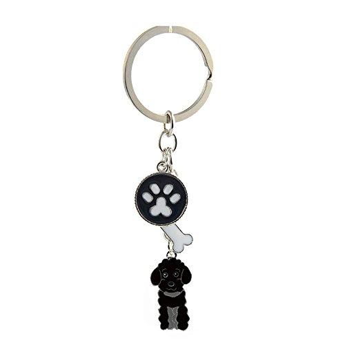Key-ring Keychain,Cute Metal Small Dog Puppy Keychain Keyring Keyfob Car Bag Charm Dog Tag Chains Birthday Christmas Gift (Black Poodle)