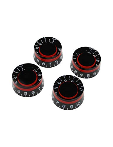 Tone Knob Control (Guyker 4Pcs Guitar Control Knobs for 6mm Dia. Shaft Pots - Dome Volume Tone Potentiometer Knob Replacement for Precision Electric Guitar or Bass (Red))