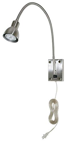 Cal BO-119-BS LED Wall Sconce with Gooseneck Arm, Brushed Steel Finish with Metal Shade
