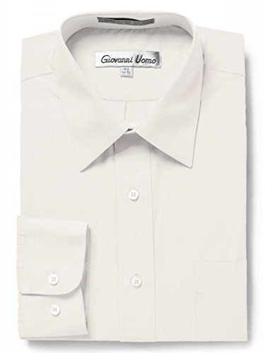(GIOVANNI UOMO Men's Traditional Fit Solid Color Dress Shirt Ecru 16.5 32/33)